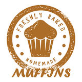 Freshly Baked Muffins Stamp. Cupcake Design Royalty Free Stock Photo