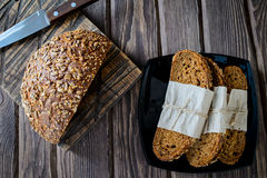 Freshly baked multigrain bread stock images