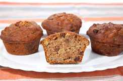 Freshly baked nuts  muffins Royalty Free Stock Photos