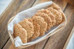 Freshly baked oatmeal Anzac cookies Stock Photo