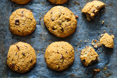 Freshly baked oatmeal raisin cookies on dark baking paper. Top flat view with natural directional lighting Royalty Free Stock Photo
