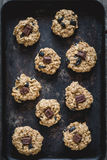 Oatmeal raisin cookies on baking sheet Royalty Free Stock Photos