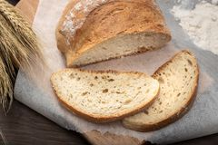 Freshly baked old bread. Rustic bread from Galicia, Spain stock photo