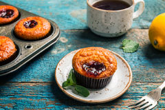 Freshly baked orange muffin Royalty Free Stock Photos