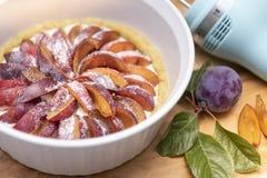 Freshly baked organic stone fruit purple plum pie stock images