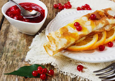 Freshly baked pancakes with jam Royalty Free Stock Photo