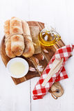 Freshly baked Pane Di Casa bread rolls Stock Photo
