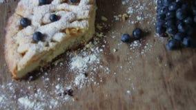 Freshly baked peace of apple pie stock video footage