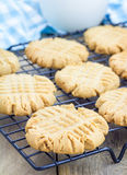 Freshly baked peanut butter cookies on a cooling rack Stock Image