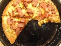 Freshly baked pepperoni pizza stock image