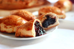 Freshly baked pie with jam. Bakery. Freshly baked pie with jam on white Royalty Free Stock Photos