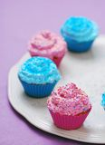 Freshly baked pink and blue cupcakes Stock Photo