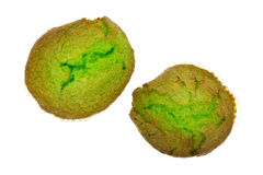 Freshly baked pistachio muffins on a white background Stock Images