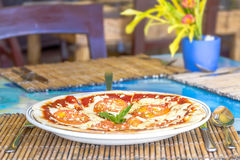 Freshly baked pizza with cheese and tomatoes in small out Royalty Free Stock Photography
