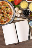 Pizza baking, ingredients, cookbook, white copy space, vertical Royalty Free Stock Images