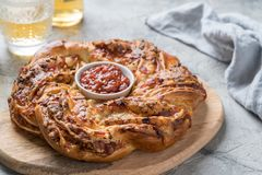 Freshly baked pizza wreath. Stock Images