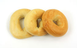 Freshly baked plain bagels Royalty Free Stock Photography