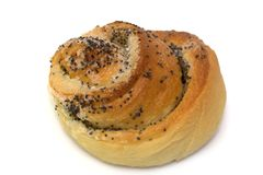 Freshly baked poppyseed bun Royalty Free Stock Images