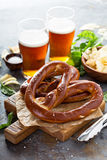 Freshly baked pretzels with beer Stock Photography