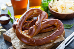 Freshly baked pretzels with beer Royalty Free Stock Photo