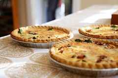 Freshly baked quiche pies