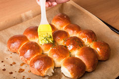 Freshly baked rolls smeared garlic butter and dill Stock Images