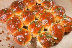 Freshly baked rolls smeared garlic butter and dill Stock Photos
