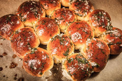 Freshly baked rolls smeared garlic butter and dill. Tinted Stock Photo