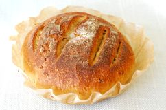Fresh round sourdough bread. Freshly baked round sourdough bread with sunflower seeds,  on a white tablecloth Royalty Free Stock Images
