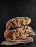 Freshly baked rye, sourdough bread, rustic studio picture. Can be used as background royalty free stock photography