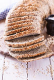 Freshly baked sandwich bread on white wooden table Royalty Free Stock Image