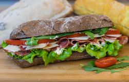 Tasty Homemade Sandwich with peperoni and vegetables stock image