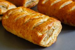 Pork Sausage Rolls in Puff Pastry royalty free stock photography