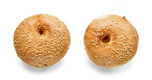 Freshly baked sesame bread buns royalty free stock photo