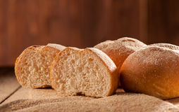 Freshly baked sliced buns Royalty Free Stock Images