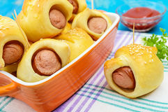 Freshly baked small buns in a ceramic bowl. Royalty Free Stock Photography