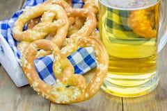 Freshly baked soft pretzels sprinkled with coarse salt Royalty Free Stock Image