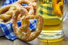 Freshly baked soft pretzels sprinkled with coarse salt Stock Photo