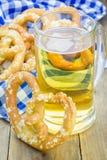 Freshly baked soft pretzels sprinkled with coarse salt Stock Image