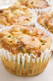 Freshly baked spinach and cheese muffins Stock Photos