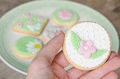 Freshly Baked Spring Flower  Cookies Stock Photography