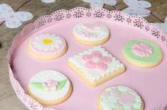 Freshly Baked Spring Flower  Cookies Royalty Free Stock Photo