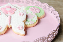 Freshly Baked Spring Flower  Cookies Royalty Free Stock Photography