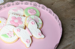 Freshly Baked Spring Flower  Cookies Stock Photos