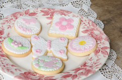 Freshly Baked Spring Flower  Cookies Royalty Free Stock Images
