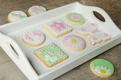 Freshly Baked Spring Flower  Cookies Royalty Free Stock Photos