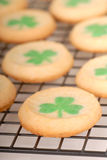 Freshly baked St. Patrick's Day sugar cookies. Cooling on a rack Royalty Free Stock Photography