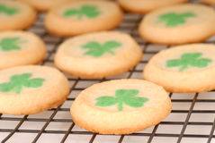 Freshly baked St. Patrick's Day sugar cookies. Cooling on a rack Stock Image