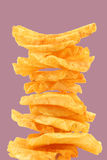 Freshly baked stack of deep ridged potato chips Royalty Free Stock Photos