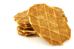 Freshly baked stacked Dutch waffles Royalty Free Stock Photography